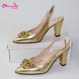 $enCountryForm.capitalKeyWord Australia - Latest Italian Women Sandals Shoe for Party African Wedding Low Heels Slip on Women Pumps High Quality Wedding Shoe with Stone
