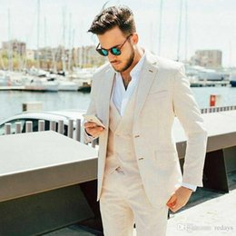 light gray linen suit Canada - Summer Ivory Linen Suits for Men Wedding Casual Groom Tuxedo Classic Terno Masculino Slim Fit Groomsmen Attires 3Piece(Coat+Pants+Vest)