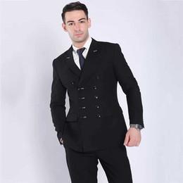 Groom Pants Coat Australia - Men Suits with Double Breasted Groom Wedding Tuxedo Black Man Blazer Custom Made Bridegroom Jacket 2 Piece(Coat+Pants)Terno Masculino