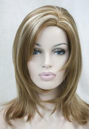 $enCountryForm.capitalKeyWord NZ - LL 2784 strawberry blonde with blonde highlight skin top wavy no bangs medium long wig