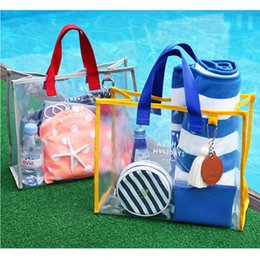 Woman Transparent Swimsuit NZ - Transparent Jelly Beach Bags Women Portable Waterproof Tote Summer Pool Large Capacity Handbags Swimsuit Collect Bag