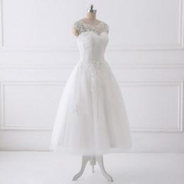 $enCountryForm.capitalKeyWord Australia - Elegant White Lace Short Wedding Dresses Country Custom-Made Hollow Back Tea Length Bridal Dress Simple Beach Wedding Gowns With Sashes