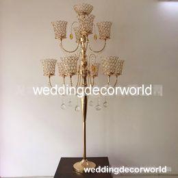 Decor Parties Australia - 5 arm Crystal Candle Holder Wedding Candelabra Centerpieces Center Table Candlesticks Party Decor Lantern stand Silver Gold home decor913