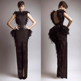 $enCountryForm.capitalKeyWord Australia - Vintage Formal Krikor Jabotian Black Evening Dresses with Feather Satin Sheath Backless Front Split Party Gown Cap Sleeves Prom Dress