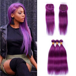 $enCountryForm.capitalKeyWord Australia - 8A Virgin Peruvian Purple Human Hair Weave Bundles with Lace Closure Silky Straight Purple Hair Double Wefts Extensions and Closure