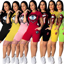Wholesale Sequin Clothes Australia - Sequin Eyes Lips 2 two Piece Outfits Tracksuit Women Summer Short Sleeve T Shirt Skinny Biker Shorts Sets Streetwear clothes Plus Size