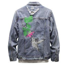 $enCountryForm.capitalKeyWord Australia - Flower Bird Patch Designs Men's Casual Denim Jackets Vintage Blue Slim Fashion Hip Hop Coat Embroidery Ripped Outerwear