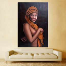 $enCountryForm.capitalKeyWord Australia - African Diva Naked Women Portrait Oil Painting On Canvas Hand Painted Art Home Decor Wall Art Picture