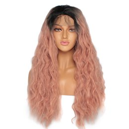 $enCountryForm.capitalKeyWord NZ - Sweetheart 14-24inch Loose Wave Hair Lace Wig 180% Density Long Synthetic Lace Front Wig Dark Roots Ombre Pink Wigs For Women Free Part