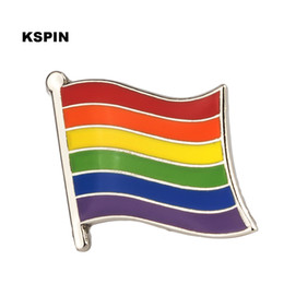 Wholesale pin stripes for sale - Group buy 6 Stripe Rainbow Flag Lapel Pin Flag Badge Lapel Pins Badges Brooch XY0323