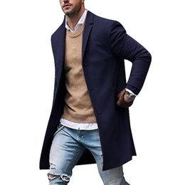 Discount polyester trench coat mens - Mens Wool Jackets Winter Men's High-quality Wool Coat Casual Slim Collar Coat Men's Long Cotton Collar Trench