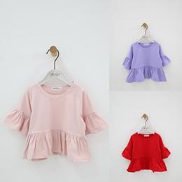 Girls Ruffle Shirts Australia - Ruffle Flare Sleeve Summer Girls Blouses Tops Pure Cotton Princess Casual Baby Girl Shirts for Children Kids Clothing Shirts