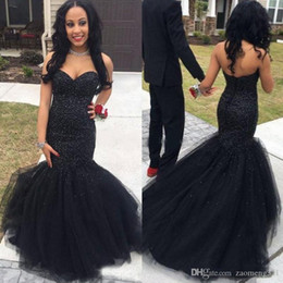 20d13807dc3 Black Sweetheart Prom Dress Straps NZ - Stylish Black Mermaid Prom Dresses  Beaded Sweetheart Neck Sequined