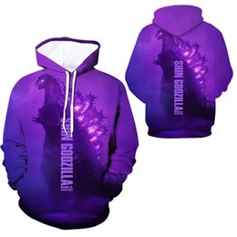 sweatshirt casual NZ - Fashion funny 3D print unisex hooded hoodie movie Godzilla sweatshirt graphic hoodie casual streetwear pullover 2019 new