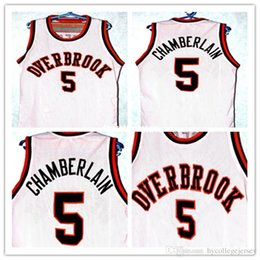 Customized T Shirts Cheap NZ - Cheap WILT CHAMBERLAIN #5 OVERBROOK HIGH SCHOOL JERSEY WHITE Customize any number size and player name Retro vest T-shirt Embroidery Stit