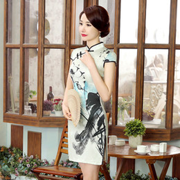 $enCountryForm.capitalKeyWord Canada - 2019 Summer high quality simple but elegant plus size short sleeve real silk printed ink and wash short cheongsam Chinese dress daily qipao