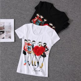 $enCountryForm.capitalKeyWord Australia - 2018 new short-sleeved printed color stereo heart-shaped stretch slim slimming T-shirt fashion women's wholesale