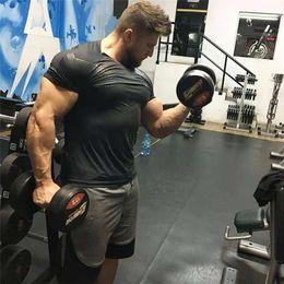 $enCountryForm.capitalKeyWord NZ - Men's GYM Sport Running T shirt Fitness Slim High Elasticity Breathable Quick Dry Bodybuilding Tight Mens Tshirt Men Tee Tops