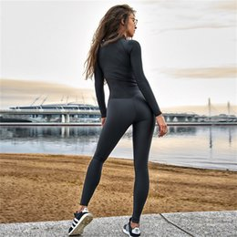 front zipper jumpsuit NZ - Elastic Slim Sport Jumpsuit 2019 Winter Women Long Sleeve Front Zipper Yoga Set Fitness Suit Gym Clothes Drop Shipping