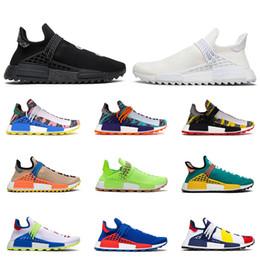 Canvas shoes blue online shopping - New human race hu Pharrell Williams men women running shoes NERD Black Blank Canvas Homecoming Solar Pack Mother mens trainer sports sneaker