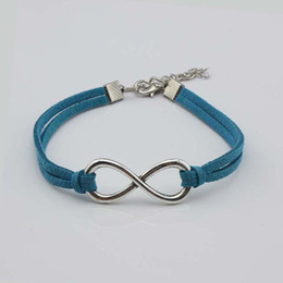 Big Silver Bracelets For Men Australia - Bohemian Big Infinity Friendship Braided Blue Leather Rope Bracelets for Women Charms Cotton Weave Rope Chain Bangles Men Jewelry New Gifts