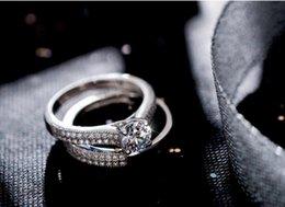$enCountryForm.capitalKeyWord Australia - 2018 New Arrival Brand Desgin Luxury Jewelry Sparkling 925 Sterling Silver Round Cut White Topaz Tiny CZ Women Wedding Pave Bridal Ring Set