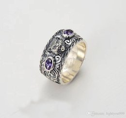 $enCountryForm.capitalKeyWord Australia - GGJewellry S925 pure silver ring with nature purple or orange stone and leopard head design for women and man wedding jewelry gift PS5523