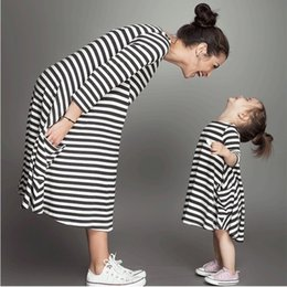 Black White Striped Dress Sleeves Australia - Spring and summer new fashion casual round neck black and white striped seven-point sleeve dress Family Matching Outfits