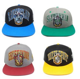 Skull Cap Ball Australia - Hogwarts Baseball Hat Adult Cotton Ball Snapback Caps Gryffindor Slytherin Adjustable Skull Hip Hop Hats Boys Girls Cosplay Gift