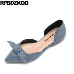 2267a33a4649 women flats shoes with little cute bowtie chinese pointed toe blue  breathable sandals china ladies slip on shallow summer kawaii