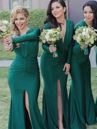 $enCountryForm.capitalKeyWord Australia - Elegant Trumpet Mermaid Deep V Neck High Slit Long Sleeve Emerald Green Bridesmaid Dress Colors for September Cheap Formal Maid of Honor