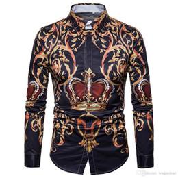 $enCountryForm.capitalKeyWord Australia - Gentleman Dinner Shirt Noble Style Floral Blouse Long Sleeve Man Tops Turn-down Collar 3XL Slim Blusa Crown Print Man Shirts New