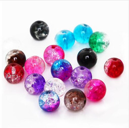 Bracelets Made Glass Beads Australia - Hight Quality 50Pcs 8mm Two-Tone Color Round Glass Crackle Beads Loose Spacer Beads For Jewelry Making DIY Bracelet & Necklace