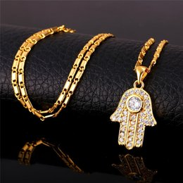 necklaces pendants Australia - Fatima Hamsa Hand Crystal Necklaces & Pendants For Women Fashion Silver Gold Color Cubic Zirconia Amulet Turkey Jewelry P691