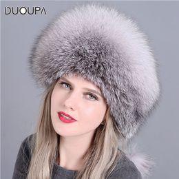 DUOUPA fashion new style luxury winter Russian natural real fox fur hat  women warm good quality 100% genuine real fox fur c b3d7752239c6
