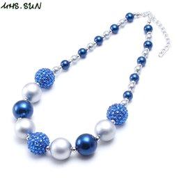 Toptan satış GÜNEŞ 1 ADET Moda bebek mavi + gümüş tıknaz boncuklu kolye kız bubblegum sakız çocuklar için el yapımı kolye doğum günü hediye