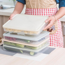 plastic organization Australia - Refrigerator Storage Box with Covers Single-layer Plastic Organizer Safe Container Kitchen Fresh Food Fruit Dumplings Storage Organization