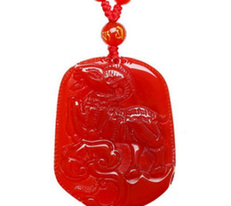Yellow Pole UK - Natural Crystal Red Agate Pendant 12 Zodiac Year of the Sheep Men's Necklace Couple Jewelry Female