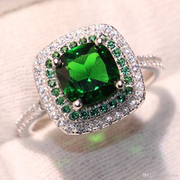 Emerald Gemstones Rings Australia - Sparkling Luxury Jewelry Drop Shipping 100% Pure 925 Sterling Silver Emerald CZ Diamond Gemstones Women Weddiing Band Ring for Lovers' Gift