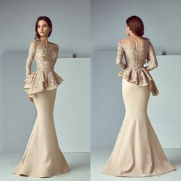 China Cheap Arabic Champagne Lace Stain Long Evening Dresses 2019 Jewel Sheer Neck Long Sleeve Dubai Mermaid Prom Dress Robe De Soiree cheap arabic robe suppliers