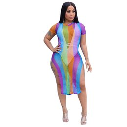 c0e1d58afa2 Strip Club Dresses UK - Women Summer Sexy Beach Dress Short Mouw Rainbow  Stripped Hollow Out