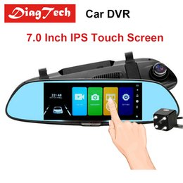 camera rearview mirror full hd NZ - Car DVR Full HD Dash Camera 1080P 7.0 Inch IPS Touch Screen Recorder Dual Lens with Rearview Mirror Auto Registrator