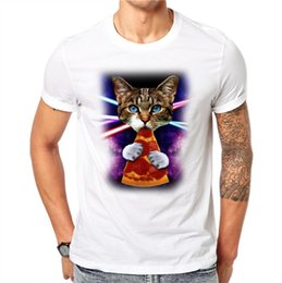 Kitten Shirts Australia - 100% Cotton Galaxy Space 3d White T Shirt Lovely Kitten Cat Eat Pizza Funny Tops Tee Short Sleeve Summer Shirts For Men