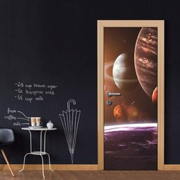 $enCountryForm.capitalKeyWord Australia - Door Wall Mural Wallpaper Stickers Space Cosmic Planet Vinyl Removable Decals for Home Room Decoration