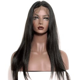 Under Hair Dyeing Australia - Beauty Brazilian human hair natural color full lace hair wig for women with baby hair lace front wig natural straight can be dyed