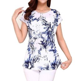$enCountryForm.capitalKeyWord NZ - Women 5xl Ladies Clothing Tops Short Sleeve Printing Shirts Casual Boat Anchor Blouse Silk Female Woman Clothes Plus Size