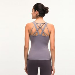 sleeveless women shirts Canada - LU-96 Women Sleeveless Yoga Top Hollow Out Breathable Fitness Sport Vest Gym Running Tank Tops With chest pad Workout T-shirt