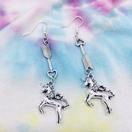 $enCountryForm.capitalKeyWord Australia - Lucky Arrow of Love Pegasus Unicorn Earrings Charm Jewelry Drop Dangle Earrings For Women Girl Vintage Silver Valentine's Day Gifts 2019
