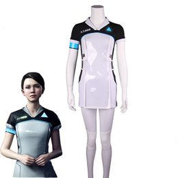 plus size dress code NZ - Game Detroit: Become Human KARA Cosplay Costume Code AX400 Agent Outfit Girls Cute Dress Halloween Carnival Uniforms Top+PantsMX190923