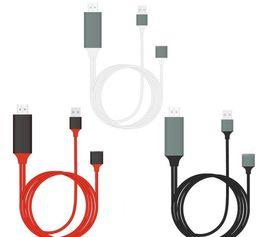 Venta al por mayor de Cable HDMI universal CONECTAR Y JUGAR HDMI HDTV Adaptador de TV Cable AV digital 1080P Teléfono a TV USB 2.0 A Tipo C Micro 5 pines Lightning 1M + caja